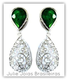 Brincos em prata 950 e esmeralda (950 silver earrings with emerald)