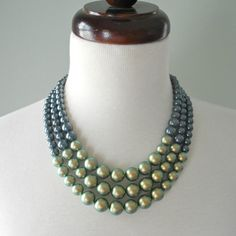 Color Block Triple Decker Necklace - in Mermaid - 3 Strand Colored Pearl Necklace on Etsy, $85.00