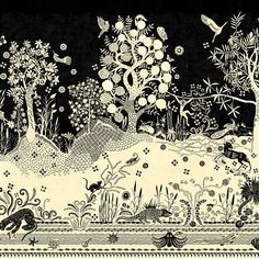 Bois Paradis Primevere mural has an extraordinary silhouette scene from Christian Lacroix featuring illustrative exotic creatures and forest trees. Home Wallpaper, Fabric Wallpaper, Christian Lacroix Wallpaper, Designers Guild Wallpaper, Brochure Inspiration, Stunning Wallpapers, Painting Studio, Buy Fabric, Bud