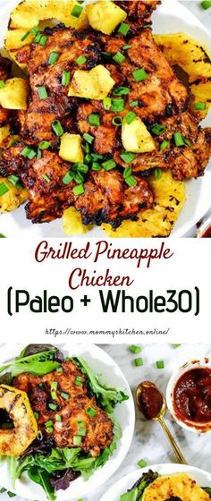 This Paleo grilled pineapple chicken has a smoky barbecue flavor, with a.This Paleo grilled pineapple chicken has a smoky barbecue flavor, with a hint of sweetness and juicy grilled pineapple for a healthy summer dinner! Healthy Dinner Recipes For Weight Loss, Good Healthy Recipes, Diet Recipes, Cooking Recipes, Dinner Healthy, Healthy Grilled Chicken Recipes, Easy Paleo Dinner Recipes, Fancy Recipes, Vegetarian Recipes