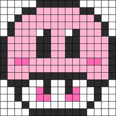 Melty Bead Patterns, Pearler Bead Patterns, Kandi Patterns, Perler Patterns, Beading Patterns, Pixel Beads, Fuse Beads, Perler Beads, Pixel Art Champignon