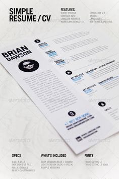 A simple, clean resume template perfect for designers. Light and dark versions…