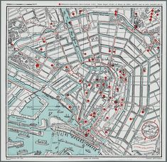 Carte d'Amsterdam en 1935 aux Archives municipales. Brick Building, Building Facade, Old Cards, Artist Canvas
