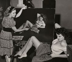 Pin-up artist Zoë Mozert paints Jane Russell in pastels for Howard Hughes' The Outlaw, 1943
