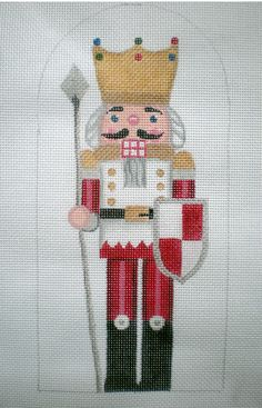 Handpainted Needlepoint Canvas 10 Stand up Gold Crown Christmas Stocking Pattern, Cross Stitch Christmas Ornaments, Xmas Cross Stitch, Christmas Embroidery, Christmas Cross, Cross Stitch Charts, Cross Stitching, Cross Stitch Embroidery, Cross Stitch Patterns