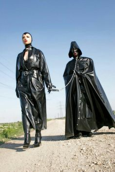 Black Rubber Raincoat and Black Rubber Hooded Cape Heavy Rubber, Black Rubber, Mode Latex, Black Raincoat, Rain Cape, Rubber Raincoats, Walking In The Rain, Pvc Coat, Rain Gear