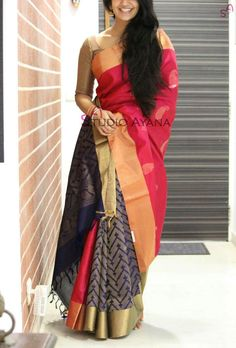 Poly Silk Printed Pink & Grey Half & Half Saree - Disclaimer : Color of the actual product may slightly vary from the image. Ethnic Sarees, Indian Sarees, Pure Silk Sarees, Cotton Saree, Chiffon Saree, Indian Dresses, Indian Outfits, Indian Clothes, Stylish Sarees