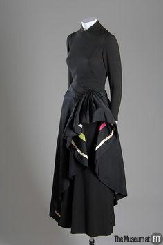 Dress, Irene (1907-1962) sold at  Bullock's Wilshire (American, 1929 - 1993): 1942, silk crepe, taffeta, multicolor satin.