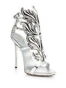Giuseppe Zanotti - Metallic Leather Winged Sandals