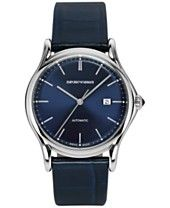 $1195 Emporio Armani Men's Swiss Automatic Blue Leather Strap Watch 42mm ARS3011
