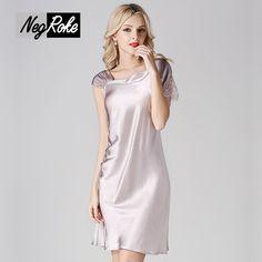 Summer 100% silk fashion noble ladies nightgowns sexy lover women nightdress quality silk sleepdress for women sleeveless pyjama