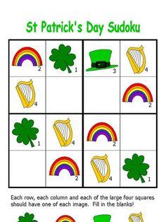 st patrick's day easy sudoku puzzle preschool printable