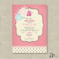 Shabby Chic Vintage Rose and Polka Dot Bridal Shower Printable Invitation - Jaci - Pink