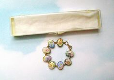Vintage Gold Tone Floral Porcelain Bracelet in Original Box - Unused