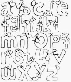 60 MOLDES DE LETRAS DIFERENTES PARA BAIXAR! - ALFABETOS LINDOS Hand Lettering Alphabet, Alphabet Print, Doodle Lettering, Creative Lettering, Calligraphy Alphabet, Lettering Styles, Lettering Tutorial, Bubble Letter Fonts, Alpha Letter