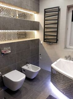 Bathroom Decor shelves metallic tile on back of upper lit shelves Metal Bathroom Shelf, Small Bathroom, Modern Bathroom Decor, Bathroom Interior Design, Bathroom Ideas, Regal Bad, Shower Fixtures, Bathroom Design Inspiration, Bathroom Collections