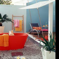 Patio Idea...outdoor bath? How cool!