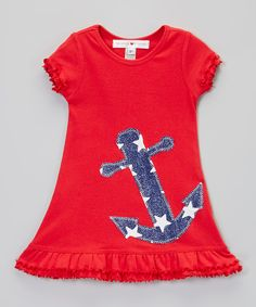Look at this little bits Red & Navy Anchor Ruffle Dress - Infant, Toddler & Girls on #zulily today!