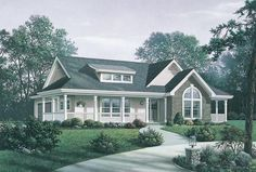 HOUSE PLAN 5633-00150 – Double sided front covered porches and an attractive façade highlight the exterior of this Country house plan. The interior floor plan offers three bedrooms and two baths in approximately 1,591 square feet of living space and the home is situated on a basement foundation which can double the living space.