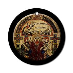 Celtic Christmas V Ornament Round Art Round Ornament by CafePress. Celtic Christmas tree ornament based on an image from the Book of Kells, an ancient manuscript of the Gospel, found on display in Dublin, Ireland Trinity College. Art Round Ornament Instantly accessorize bare wall-space with our Round Ornament. Makes great room or office accessories, fun favors for birthday parties, wedding or baby shower Ornaments, or adding a unique, special touch to gift-wrapped packages. Comes with its…