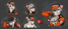 Commission: Rocky's Expression Sheet #2 by Temiree.deviantart.com on @DeviantArt #anthro #anthropomorphic #cel #colored #commission #digital #expression #inked #jose #raccoon #rocky #shaded #sheet #art #awesomecaliartist Expression sheet/sticker commission for awesomecaliartist, featuring Rocky, and a cameo from his son, Jose! Expressions in order: Paranoid, tired/hurt, partying, working out, and parenting (giving a noogie).