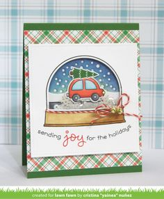 Lawn Fawn - Home for the Holidays, Ready Set Snow, Ready Set Snow Add-on, Merry Messags _ shaker card by Yainea for Lawn Fawn