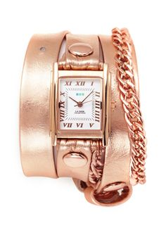 Rose Gold LA MER COLLECTIONS Metallic Glam Chain Wrap Watch