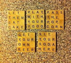 Scrabble tile coasters-oh baby