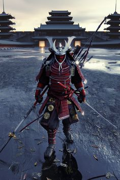 Japanese samurai Minamoto no Yoshitsune, submission from Artstation challenge : Ancient Civilization. Took me 2 week to finish the modeling, and UV, and normal map making. Ninja Kunst, Arte Ninja, Ninja Art, Ronin Samurai, Samurai Warrior, Samurai Anime, Samurai Swords, Bushido, Character Art