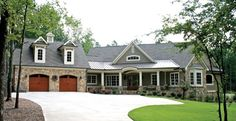 Craftsman House Plan with 3283 Square Feet and 4 Bedrooms from Dream Home Source | House Plan Code DHSW75323 (Eliminate 4th bedroom, build option over garage with railing overlooking extended garage/brewery, enlarge master bathroom to accommodate custom shower, wrap around back patio). (Debatable, wrought iron exterior staircase vs interior ladder, versus interior lift gate).