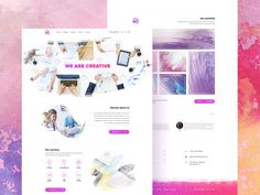 A creative watercolor website template suited for a design & development agency made for free by Dmitry Belikov. The design is clean and simple with a clear layout that seems to be built using a Bootstrap grid.