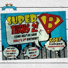 VINTAGE SuperHero Invitation  Invite Card  by LilFacesPrintables, $15.00