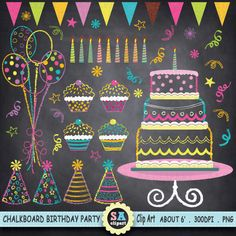 """Chalkboard Birthday Party Clip Art, """"Birthday CLIP ART"""" pack,Party Clip…"""
