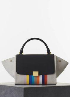 Céline Small Trapèze Handbag in Multicolour Textile