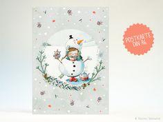 Winter - Postkarte | Warme Kakaogrüße aus dem Schneemann - ein Designerstück von Illusine bei DaWanda
