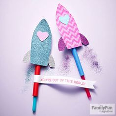 Set hearts soaring with @FamilyFunmag 's playful #ValentinesDay card. When the recipient blows through the straw, the rocket goes *whoosh.*