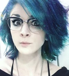 """""""LITTLE KNOWN FACT: at work, I wear glasses, tuck my septum ring, wear less makeup.. And have fluffy galaxy hair.  #cosmicdandruff #officelife #bluehair…"""""""