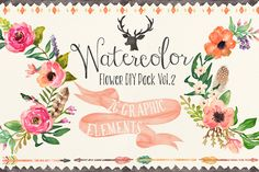Check out Watercolor flower DIY pack Vol.2 by Graphic Box on Creative Market