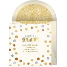 Glittering birthday party invitation with a polka dot design. Love this design for adult birthdays, cocktail parties, and more.
