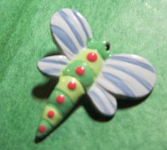"1 - 1 & 1/4"" JHB DRAGONFLY PLASTIC SHANK CRAFT EMBELLISHMENT BUTTON-Lot#6"