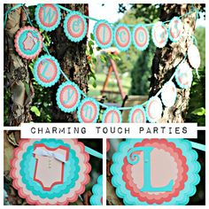 """Custom coral and aqua """"Welcome Name"""" deluxe BABY SHOWER banner (You Choose Colors) by CharmingTouchParties on Etsy"""