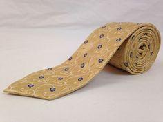 BUGATCHI UOMO 59L Mens Neck Tie Yellow Blue Floral Print 100% Silk Italy NWT #BugatchiUomo #Ties #NeckTies