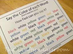 Stroop test--giggles and fun. Free printable of it too