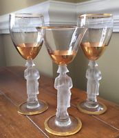 RARE 1920's French Bayel Bacchante Crystal NAPOLEON Stem Wine Glass Satin Goblet. Now in my collection- Judith Walker