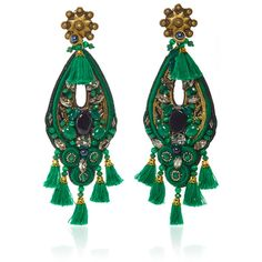 Ranjana Khan Forest Green Amethyst Earrings ($395) ❤ liked on Polyvore featuring jewelry and earrings