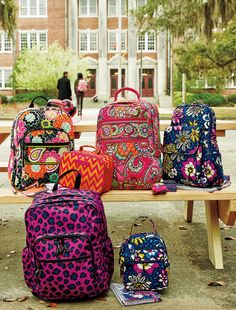 Vera Bradley Fall 2014:  Campus Backpack in Ziggy Zinnia, Ultimate Backpack in African Violet,  Tech Backpack in Pink Swirls,  Lighten Up Lunch Mate in Ziggy Zags and  Lunch Bunch in African Violet. #BrightestYearEver