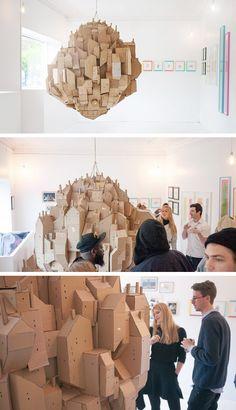 Stockholm-based artist Nina Lindgren has created a cardboard sculpture named 'Floating City'.