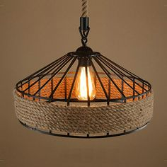 American Country vintage loft iron+hemp rope pendant light dining room Edison bulb pendant lamps restaurant cafe bar drop lights