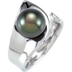 68445 / Sterling Silver / 09.00-10.00 MM / Polished / TAHITIAN CULTURED PEARL RING