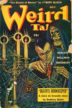 Possible front cover format. Aesthetic will be borrowed to create a nouveau retro style.  Size: 647KB  Source: Weird Tales July 1944, vol. 37, no. 6